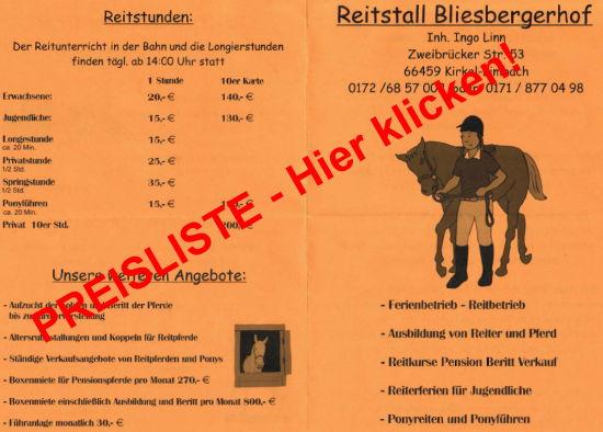 Infos und Preisliste Bliesbergerhof