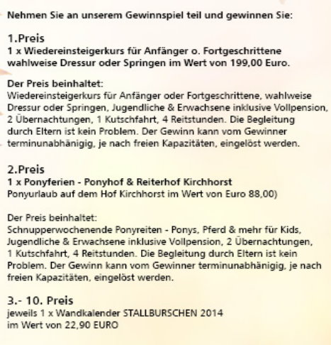 Preise im Gewinnpiel reiten,.de - Facebook