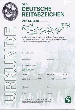 Urkunde - Das Deutsche Reitabzeichen