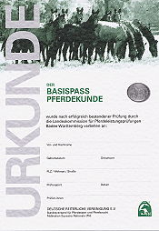 Urkunde Basispass Pferdekunde