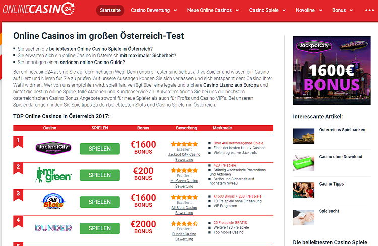Online Casinos im großen Österreich-Test