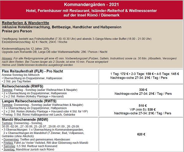 Preisliste 2021 Reiturlaub und Strandritte an der Nordsee in Dännemark