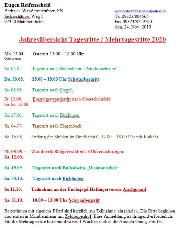Preisliste 2020 Reiterferien im Bayern Reiterhof Reifenscheid