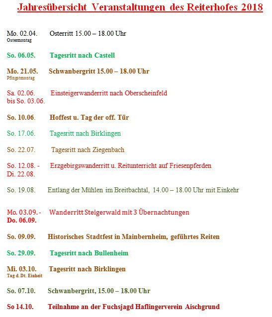 Preisliste 2018 Reiterferien im Bayern Reiterhof Reifenscheid