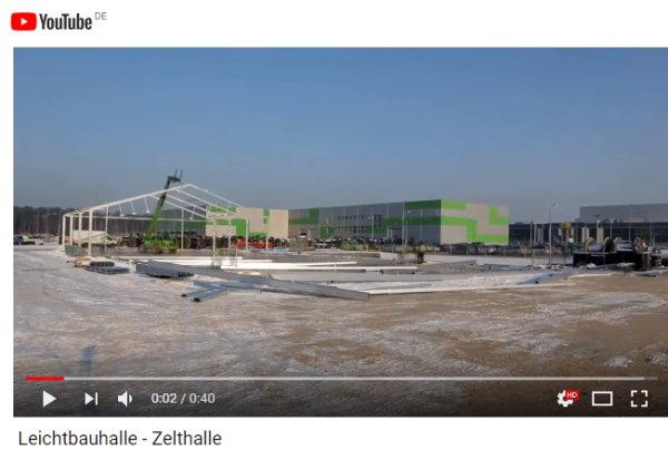 Aufbau,  Fertigstellung einer Leichtbauhalle in nur drei Tagen bei minimalen Kosten