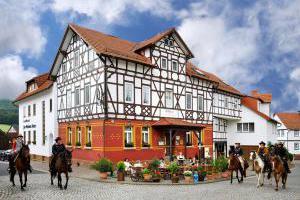 Pferde vor dem Landhotel